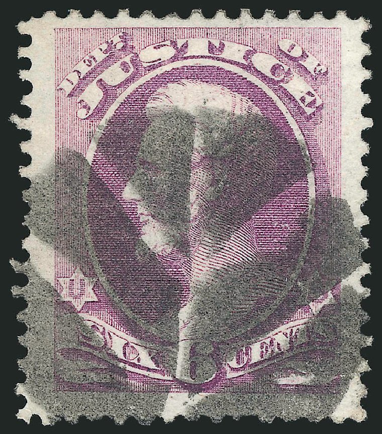Value of US Stamps Scott Cat. #O107 - 1879 6c Justice Official. Robert Siegel Auction Galleries, Dec 2013, Sale 1062, Lot 850