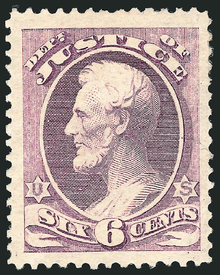 Price of US Stamp Scott Catalogue O107 - 1879 6c Justice Official. Robert Siegel Auction Galleries, Nov 2014, Sale 1085, Lot 4200