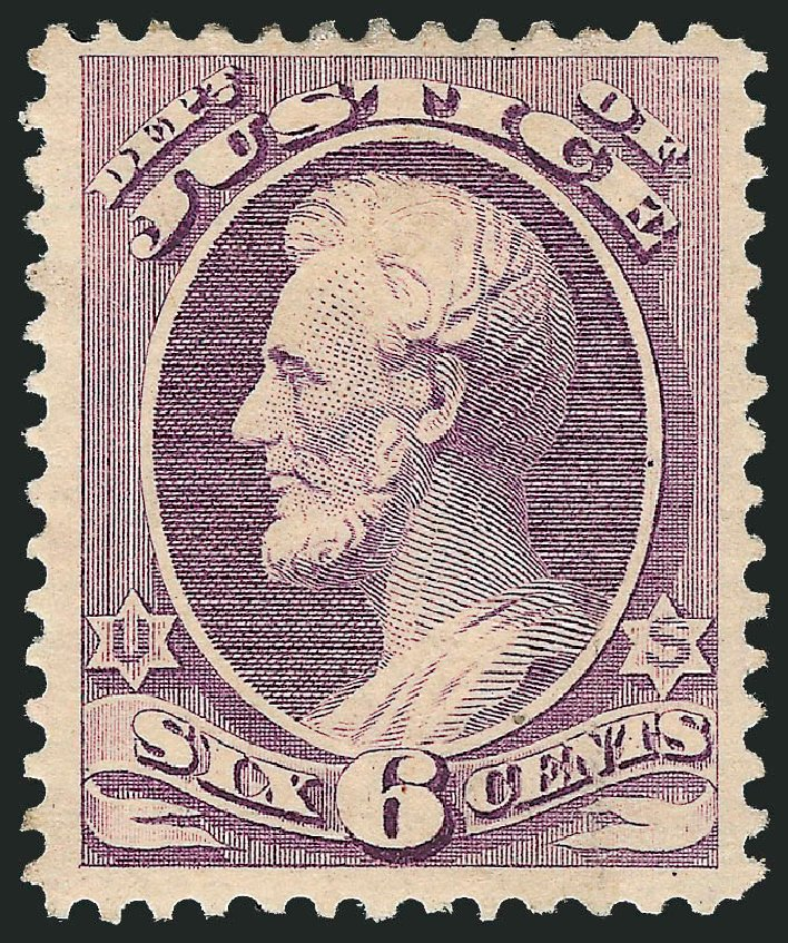 Value of US Stamp Scott Catalog # O107: 6c 1879 Justice Official. Robert Siegel Auction Galleries, Dec 2011, Sale 1017, Lot 981
