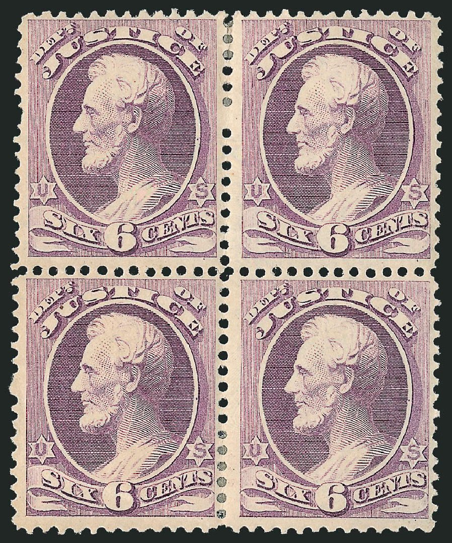 Costs of US Stamps Scott Catalogue # O107 - 6c 1879 Justice Official. Robert Siegel Auction Galleries, Jun 2015, Sale 1100, Lot 116