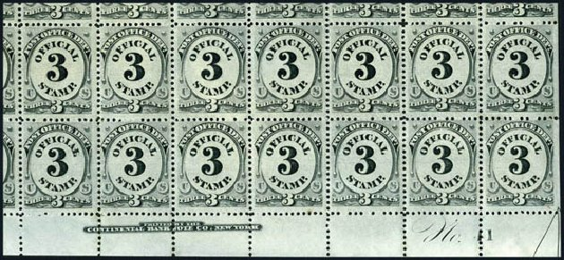 Values of US Stamp Scott #O108 - 3c 1879 Post Office Official. Harmer-Schau Auction Galleries, Jun 2008, Sale 78, Lot 1752