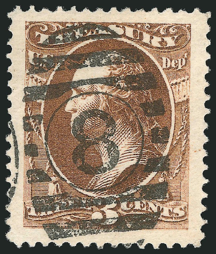 US Stamp Prices Scott #O109 - 3c 1879 Treasury Official. Robert Siegel Auction Galleries, Oct 2012, Sale 1032, Lot 3692