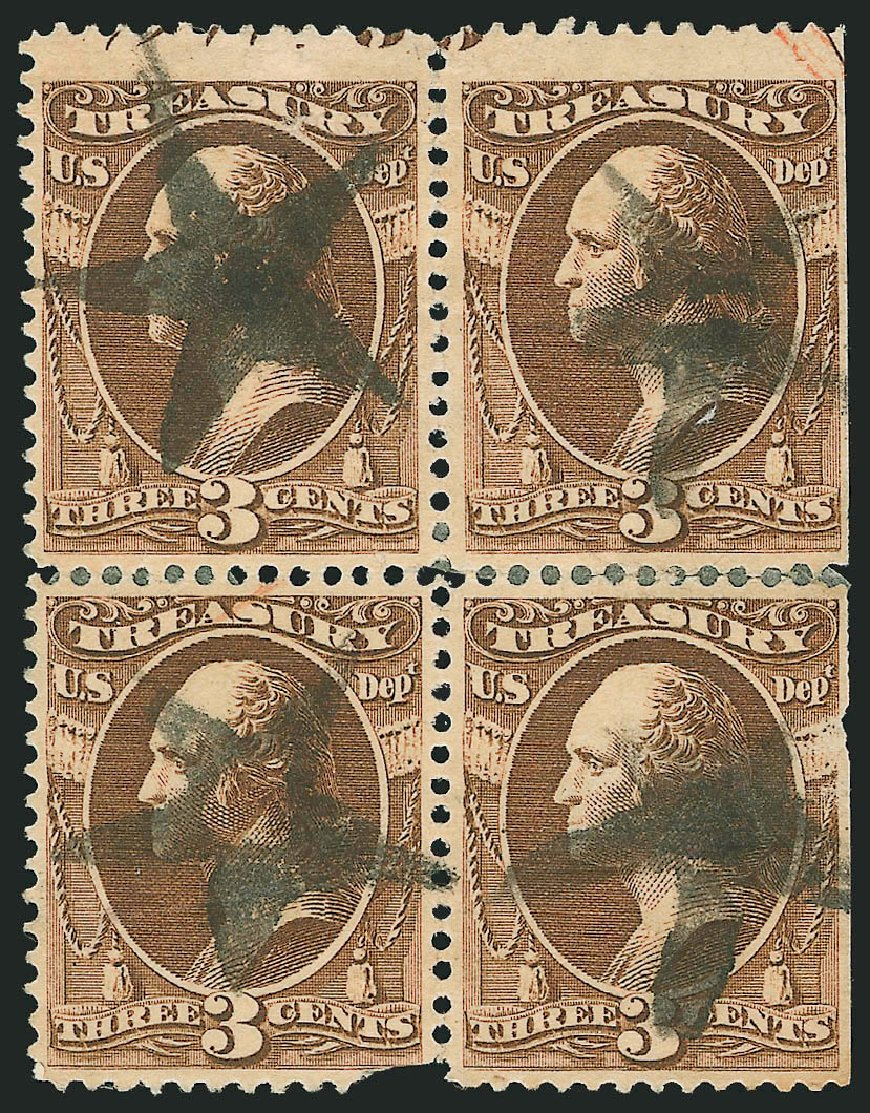 Cost of US Stamp Scott Catalogue O109: 3c 1879 Treasury Official. Robert Siegel Auction Galleries, Nov 2014, Sale 1085, Lot 4202