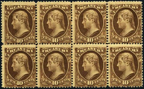 US Stamp Prices Scott # O111: 1879 10c Treasury Official. Harmer-Schau Auction Galleries, Aug 2012, Sale 94, Lot 1827