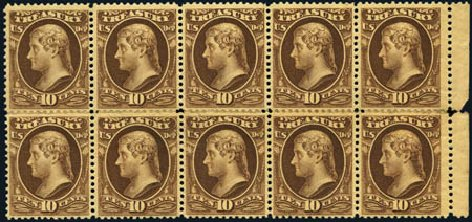US Stamp Price Scott Catalogue # O111: 10c 1879 Treasury Official. Harmer-Schau Auction Galleries, Aug 2012, Sale 94, Lot 1828