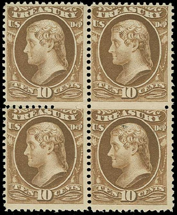 Value of US Stamp Scott Catalog # O111: 10c 1879 Treasury Official. H.R. Harmer, Jun 2015, Sale 3007, Lot 3499