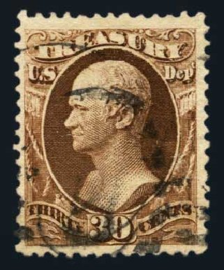 Costs of US Stamp Scott Cat. # O112: 1879 30c Treasury Official. Harmer-Schau Auction Galleries, Aug 2014, Sale 102, Lot 2208