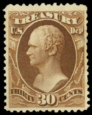 Cost of US Stamps Scott Catalog #O112: 30c 1879 Treasury Official. Daniel Kelleher Auctions, Sep 2014, Sale 655, Lot 889