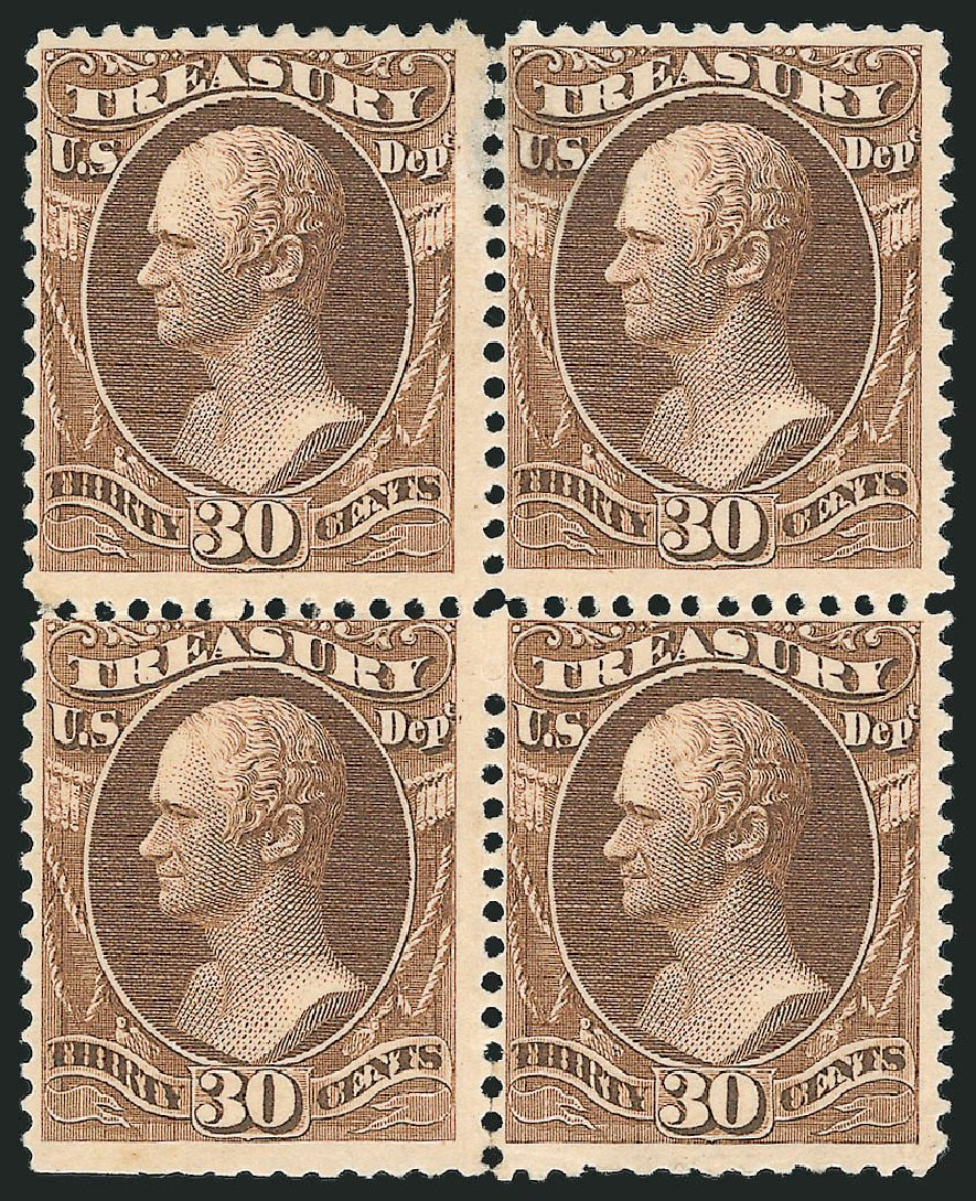 Costs of US Stamp Scott Catalogue O112 - 1879 30c Treasury Official. Robert Siegel Auction Galleries, Nov 2014, Sale 1085, Lot 4205