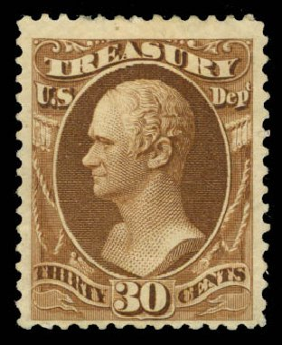 Costs of US Stamp Scott Catalogue #O112 - 30c 1879 Treasury Official. Daniel Kelleher Auctions, May 2015, Sale 669, Lot 3393