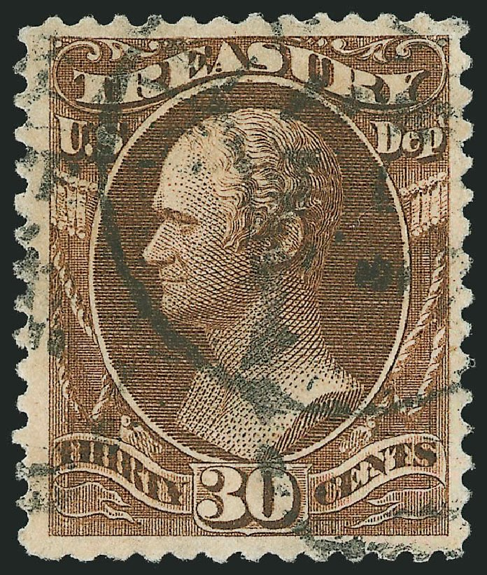 Costs of US Stamp Scott # O112 - 30c 1879 Treasury Official. Robert Siegel Auction Galleries, Nov 2014, Sale 1085, Lot 4206
