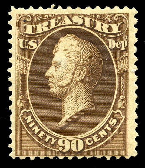 US Stamp Values Scott Catalogue #O113: 90c 1879 Treasury Official. Matthew Bennett International, May 2014, Sale 350, Lot 698