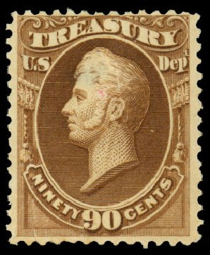 Prices of US Stamps Scott Catalog O113: 1879 90c Treasury Official. Daniel Kelleher Auctions, Dec 2013, Sale 640, Lot 629
