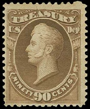 US Stamps Prices Scott Cat. O113: 90c 1879 Treasury Official. H.R. Harmer, Jun 2015, Sale 3007, Lot 3500