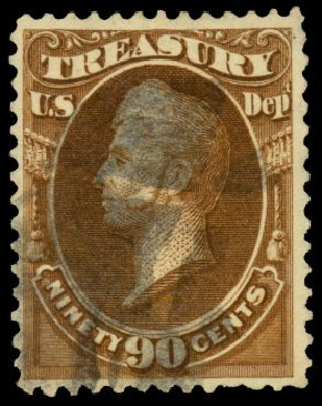 US Stamp Value Scott Catalogue # O113 - 1879 90c Treasury Official. Daniel Kelleher Auctions, Dec 2013, Sale 640, Lot 630