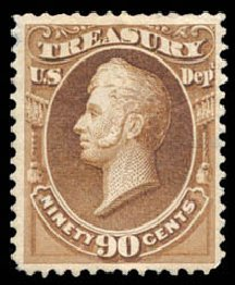 US Stamp Values Scott # O113 - 90c 1879 Treasury Official. Schuyler J. Rumsey Philatelic Auctions, Apr 2015, Sale 60, Lot 2580
