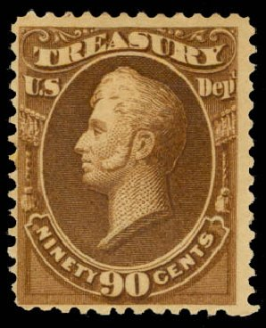 Values of US Stamp Scott Cat. # O113: 90c 1879 Treasury Official. Daniel Kelleher Auctions, May 2015, Sale 669, Lot 3394