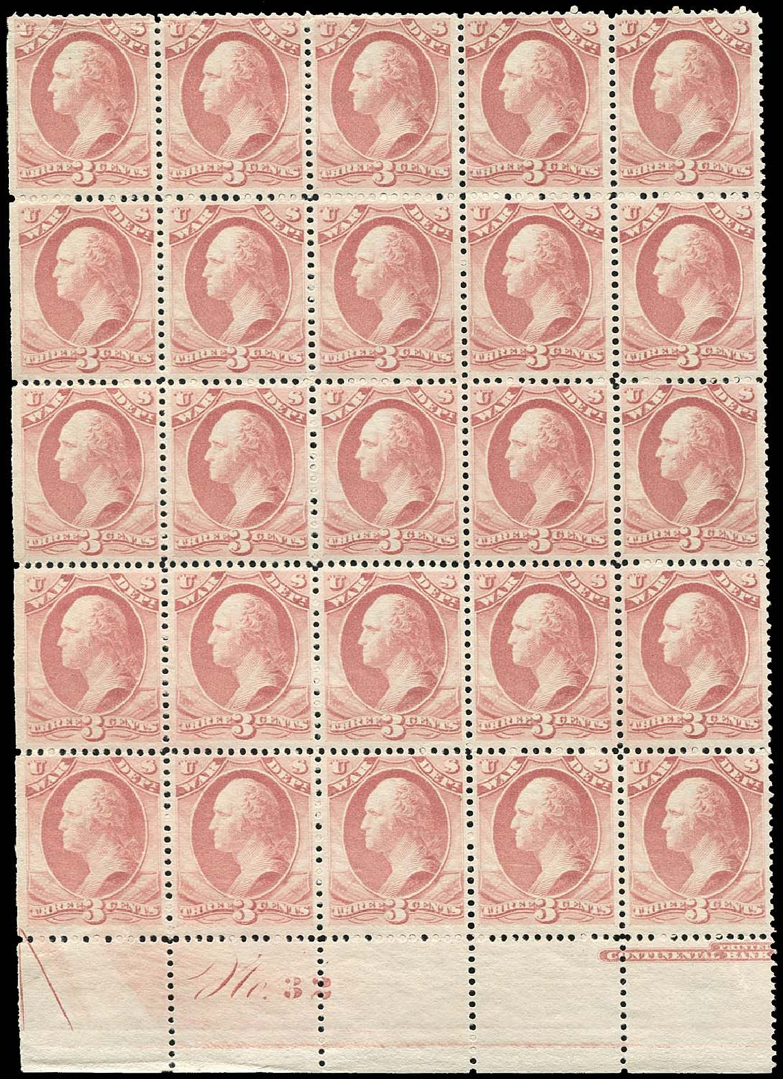 Prices of US Stamp Scott Catalog #O116: 1879 3c War Official. Regency-Superior, Nov 2014, Sale 108, Lot 1236