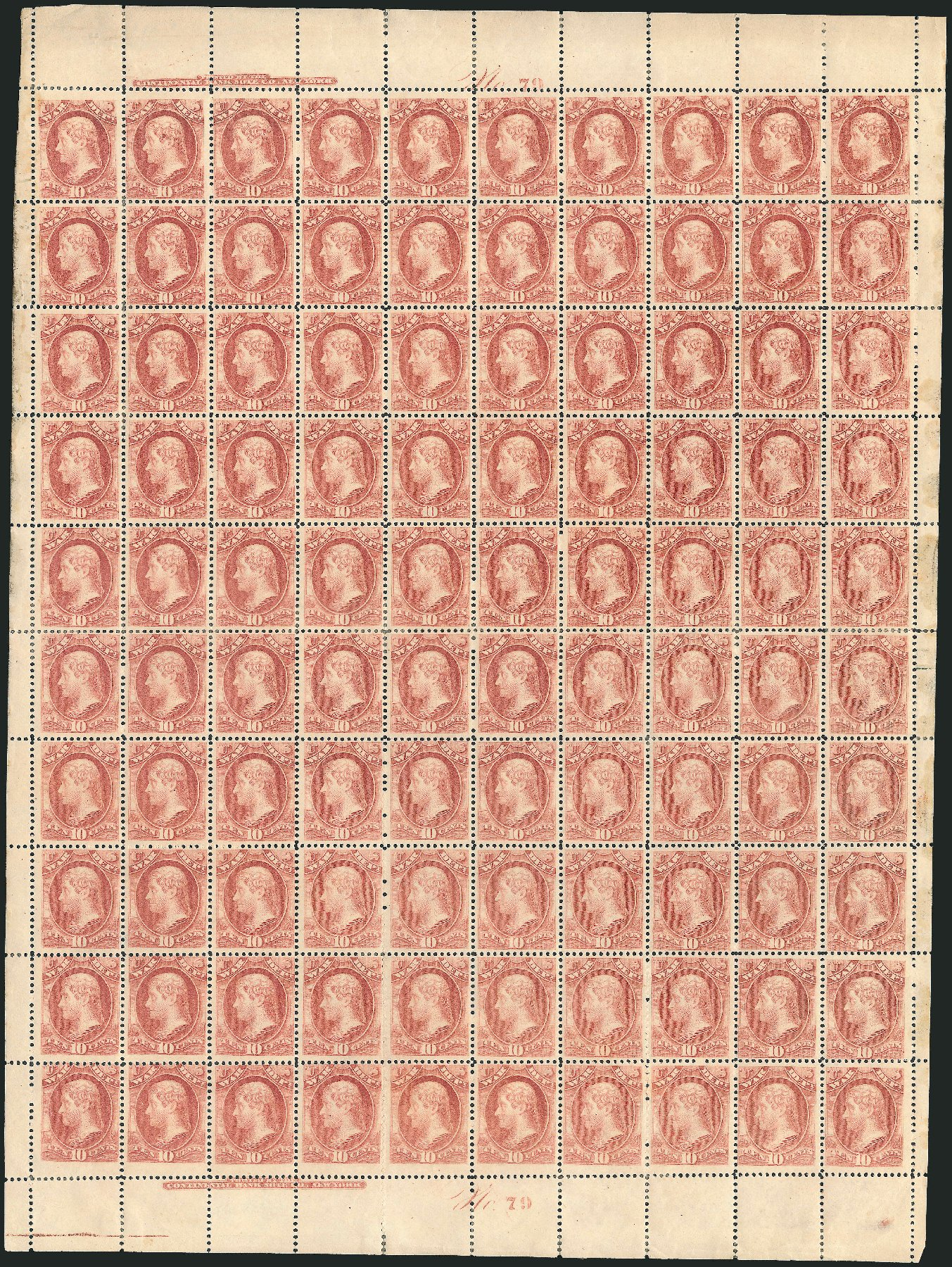 Costs of US Stamp Scott Catalog O118: 1879 10c War Official. Robert Siegel Auction Galleries, Dec 2010, Sale 1003, Lot 5462