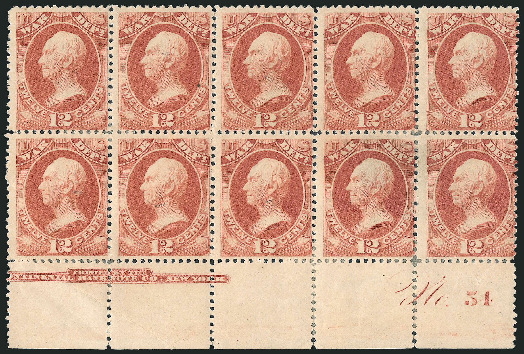 Values of US Stamps Scott O119 - 12c 1879 War Official. Robert Siegel Auction Galleries, Dec 2010, Sale 1003, Lot 5488