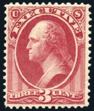 Values of US Stamp Scott Catalogue O12: 3c 1873 Executive Official. Harmer-Schau Auction Galleries, Jul 2010, Sale 86, Lot 660