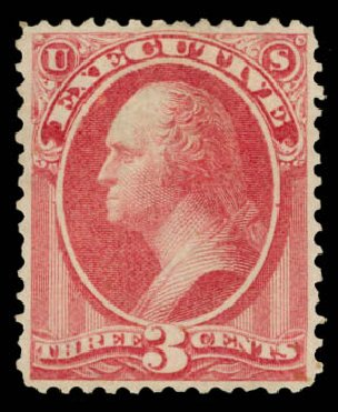 Values of US Stamp Scott Catalog #O12 - 3c 1873 Executive Official. Daniel Kelleher Auctions, May 2015, Sale 669, Lot 3341
