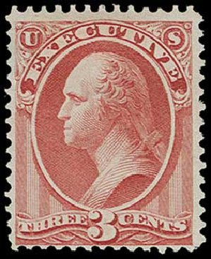 Values of US Stamp Scott Catalog #O12 - 3c 1873 Executive Official. H.R. Harmer, Jun 2015, Sale 3007, Lot 3484