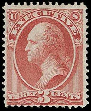 Values of US Stamp Scott Catalog #O12 - 3c 1873 Executive Official. H.R. Harmer, Jun 2015, Sale 3007, Lot 3484