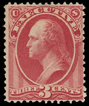 Values of US Stamp Scott Catalogue O12: 1873 3c Executive Official. Daniel Kelleher Auctions, Jun 2012, Sale 630, Lot 2105