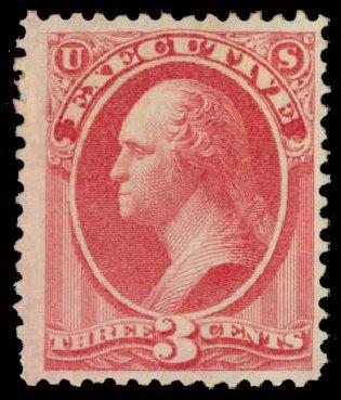 US Stamps Price Scott Catalogue O12 - 1873 3c Executive Official. Daniel Kelleher Auctions, Jan 2015, Sale 663, Lot 2145