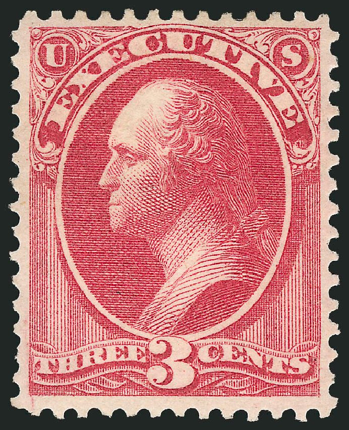Cost of US Stamp Scott Cat. O12: 1873 3c Executive Official. Robert Siegel Auction Galleries, Feb 2015, Sale 1092, Lot 1452