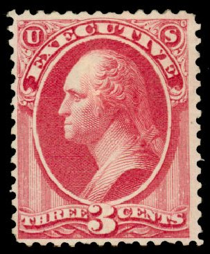 Prices of US Stamps Scott #O12: 1873 3c Executive Official. Daniel Kelleher Auctions, Dec 2013, Sale 640, Lot 593