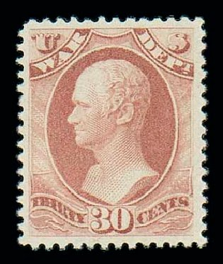 US Stamp Price Scott Catalog # O120 - 30c 1879 War Official. Matthew Bennett International, Dec 2007, Sale 325, Lot 2517