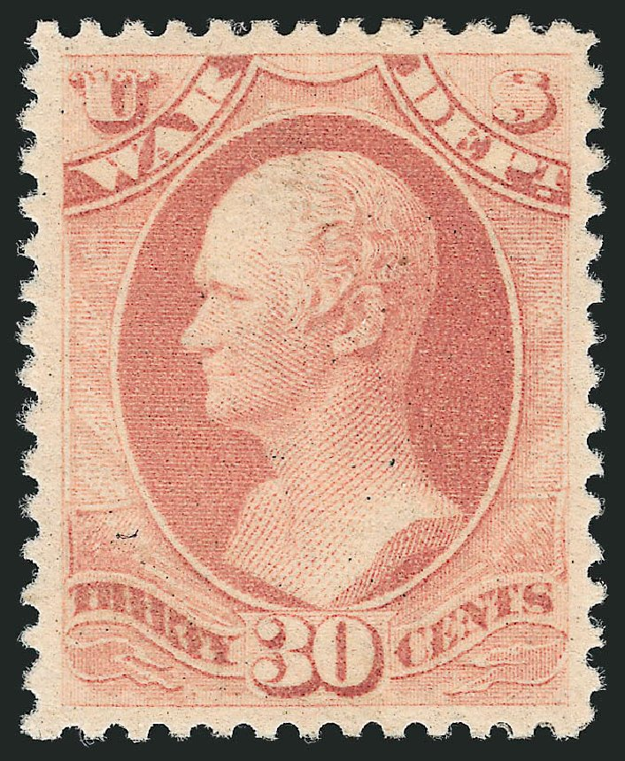 US Stamp Values Scott #O120: 30c 1879 War Official. Robert Siegel Auction Galleries, Sep 2014, Sale 1078, Lot 668