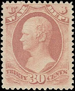 Value of US Stamp Scott Catalogue O120: 30c 1879 War Official. Regency-Superior, Aug 2015, Sale 112, Lot 1209
