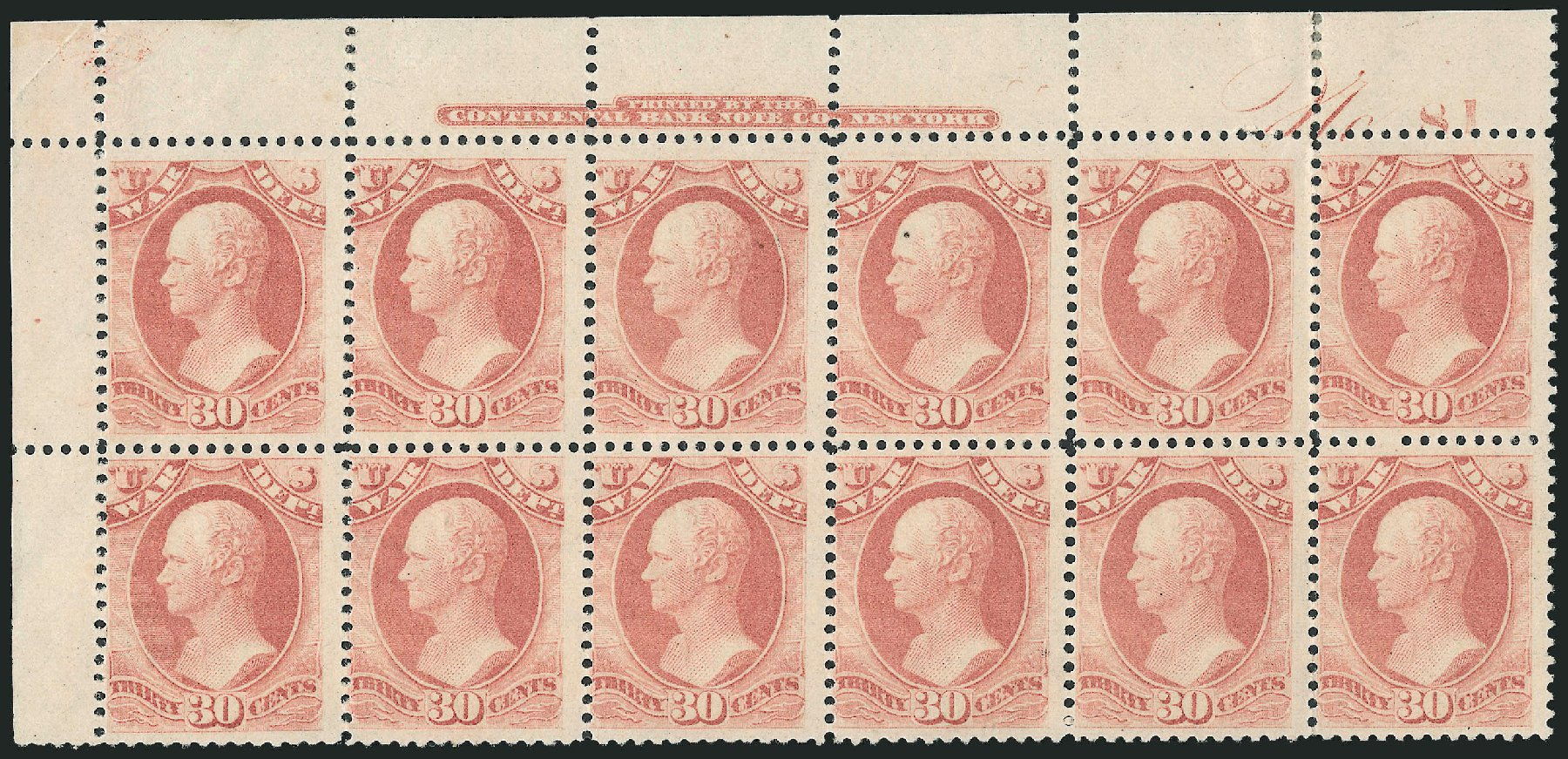 US Stamps Values Scott Catalog #O120: 1879 30c War Official. Robert Siegel Auction Galleries, Dec 2010, Sale 1003, Lot 5489