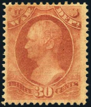 Price of US Stamp Scott Cat. #O120 - 1879 30c War Official. Harmer-Schau Auction Galleries, Oct 2012, Sale 95, Lot 300