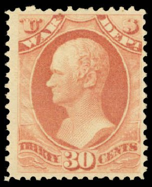 US Stamp Price Scott Catalogue O120: 1879 30c War Official. Daniel Kelleher Auctions, Aug 2015, Sale 672, Lot 3001