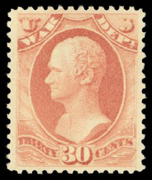 US Stamp Values Scott Catalogue O120 - 1879 30c War Official. Daniel Kelleher Auctions, Dec 2014, Sale 661, Lot 466