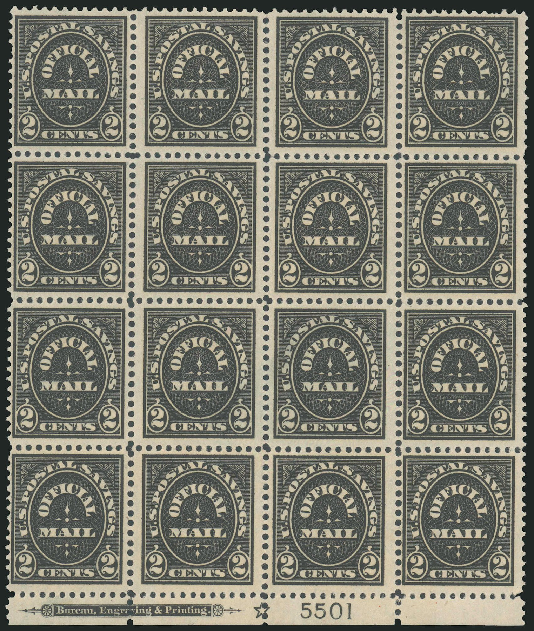 Costs of US Stamps Scott Cat. O121 - 1910 2c Postal Savings Official. Robert Siegel Auction Galleries, Jun 2010, Sale 991, Lot 1473