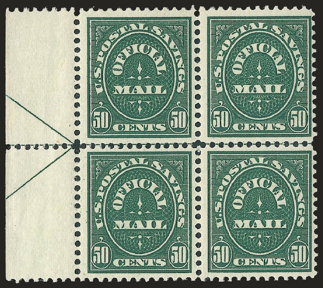 US Stamp Values Scott # O122: 50c 1911 Postal Savings Official. Robert Siegel Auction Galleries, Jun 2010, Sale 991, Lot 1478