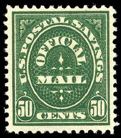 US Stamps Prices Scott Catalog O122 - 1911 50c Postal Savings Official. Matthew Bennett International, Apr 2008, Sale 326, Lot 709