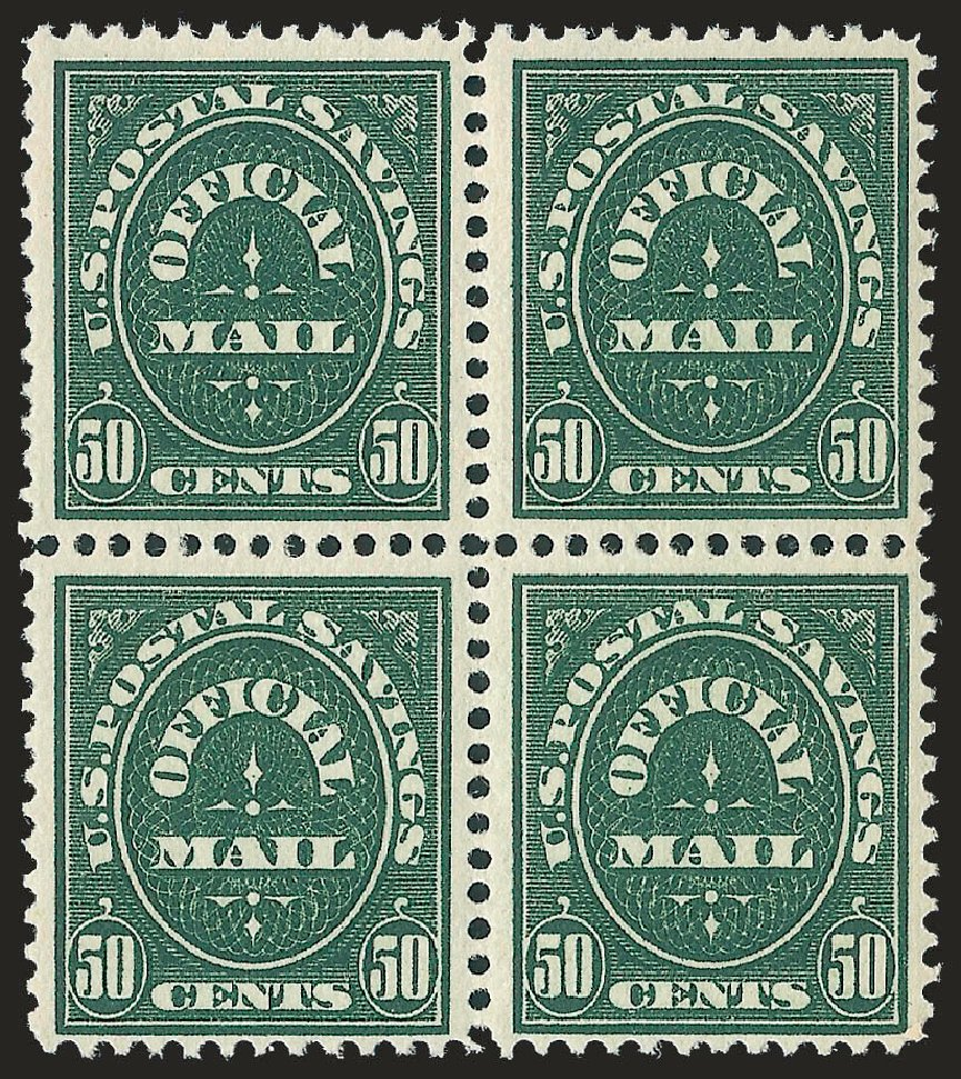 Values of US Stamps Scott Catalogue #O122: 50c 1911 Postal Savings Official. Robert Siegel Auction Galleries, Jun 2010, Sale 991, Lot 1479