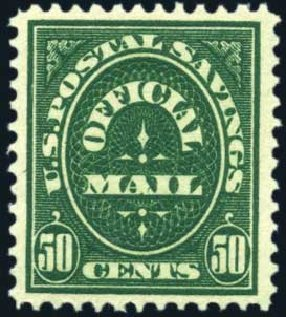US Stamp Value Scott Catalogue #O122: 1911 50c Postal Savings Official. Harmer-Schau Auction Galleries, Mar 2011, Sale 89, Lot 425
