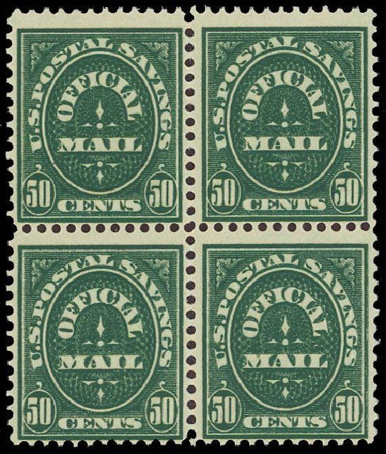 US Stamps Price Scott Catalogue O122 - 50c 1911 Postal Savings Official. Daniel Kelleher Auctions, Oct 2012, Sale 632, Lot 1575