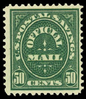 US Stamps Price Scott # O122: 1911 50c Postal Savings Official. Daniel Kelleher Auctions, Aug 2015, Sale 672, Lot 3002