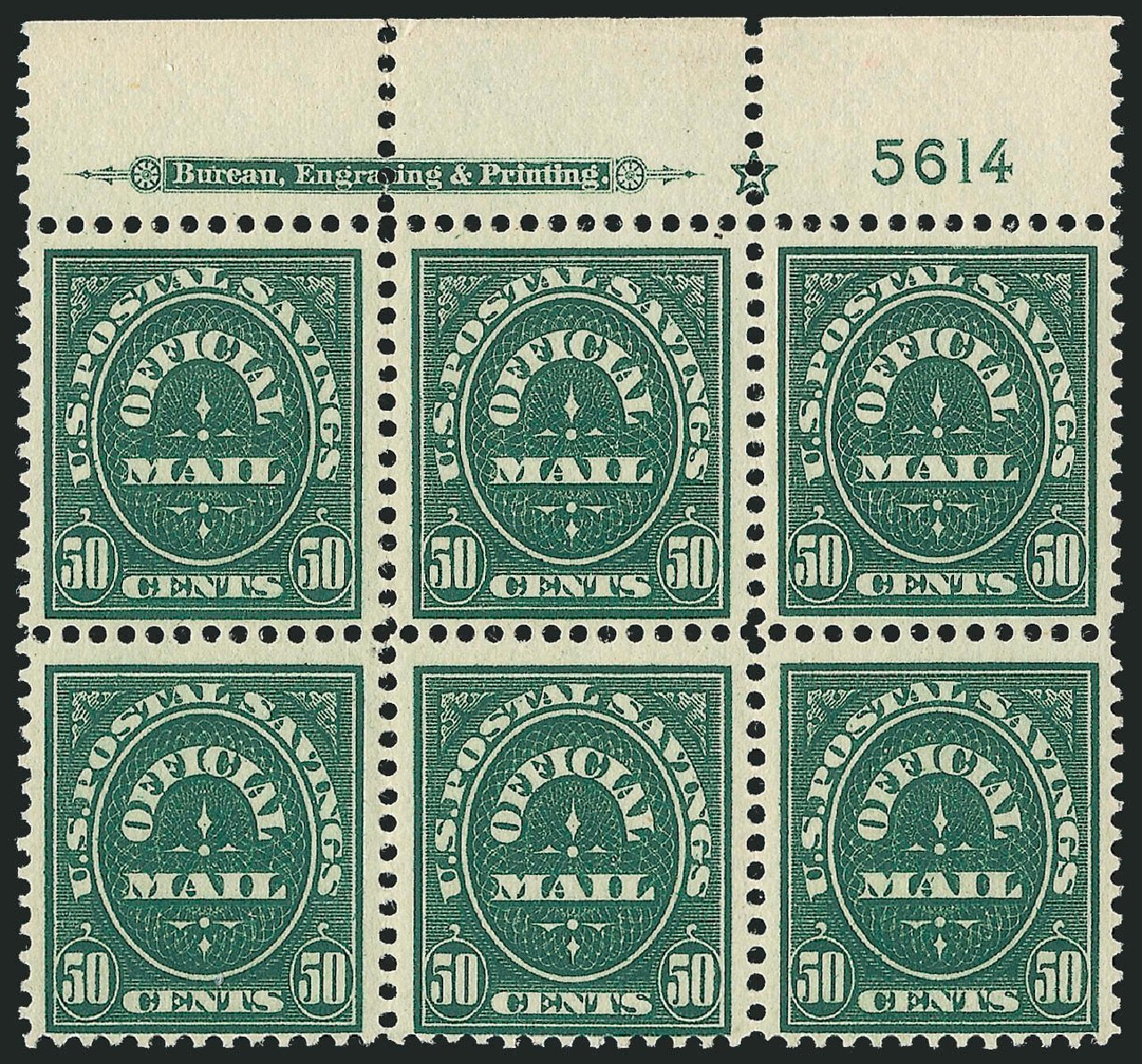 Price of US Stamp Scott Cat. O122: 1911 50c Postal Savings Official. Robert Siegel Auction Galleries, Jul 2014, Sale 1077, Lot 452