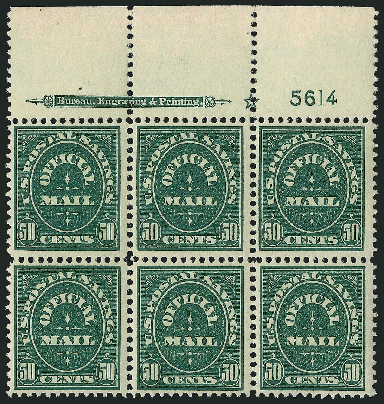 US Stamps Price Scott Catalogue # O122 - 1911 50c Postal Savings Official. Robert Siegel Auction Galleries, Apr 2015, Sale 1096, Lot 902