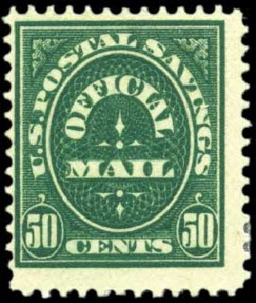 US Stamp Price Scott Cat. O122: 1911 50c Postal Savings Official. Harmer-Schau Auction Galleries, Oct 2010, Sale 87, Lot 416