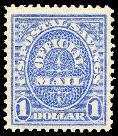 US Stamp Prices Scott Catalog #O123: 1911 US$1.00 Postal Savings Official. Matthew Bennett International, Apr 2008, Sale 326, Lot 710